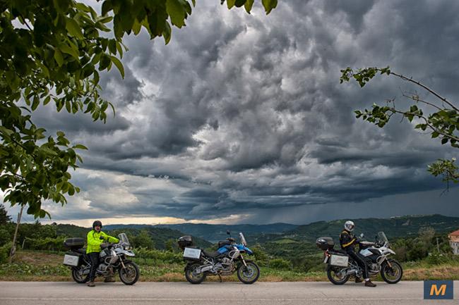 Rain on a motorcycle tour in Croatia