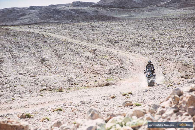 Riding a BMW R1200GS off road on gravel in Croatia