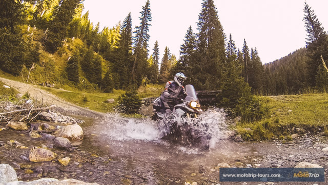 Water crossing with BMW F800GS in Albania