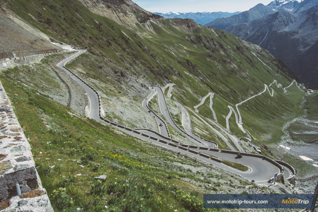 Famous 'Passo di Stelvio' and its switchbacks, Italy