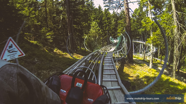 One of many slides in the Alps make a fun stop along the way