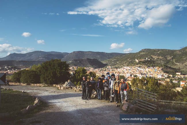 View of Bosa with motorcycle riders