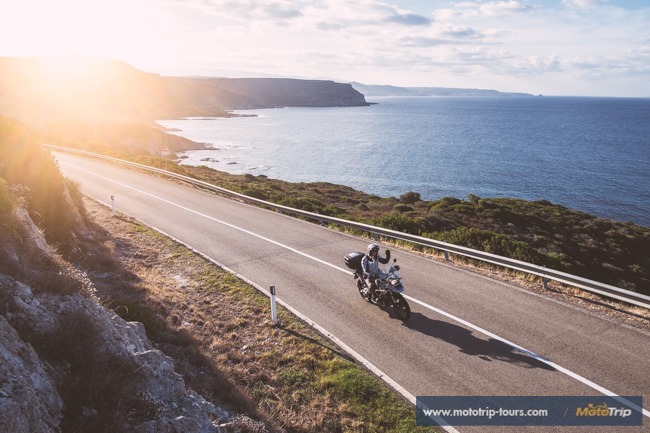 Riding cosastal roads on Sardinia