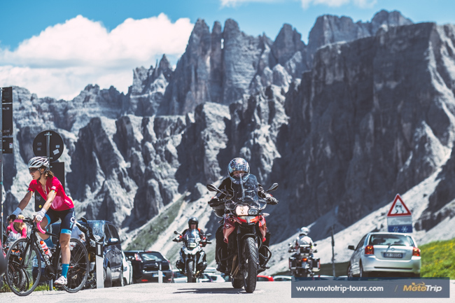 Motorcycle rider in Dolomites