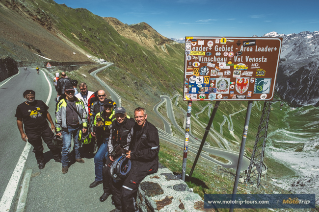 Riders on top of Stelvio pass along our motorcycle tour