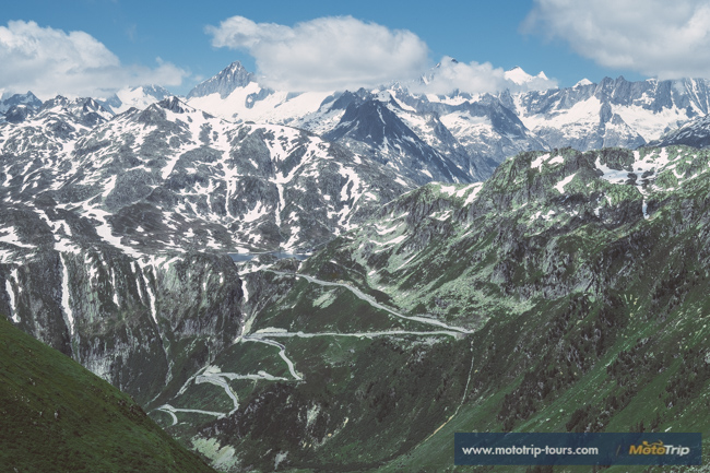 View of Grimsel pass curves in Switzerland