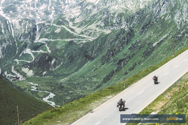 Furka pass, Grimsel pass and motorcycle riders