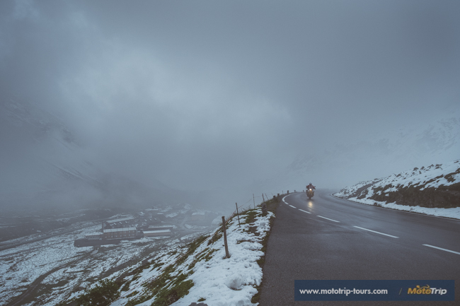 Snow on motorcycle tours in the Alps in July
