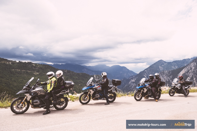 Motorcycle riders in mountains